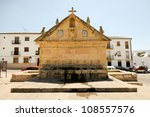 Ocho ca�±os fountain  in Ronda, one of the famous white villages in M�¡laga, Andalusia, Spain - stock photo