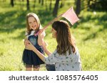 mother and daughter summer... | Shutterstock . vector #1085576405