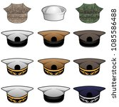 military hats vector... | Shutterstock .eps vector #1085586488