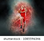 basketball player with ball in... | Shutterstock . vector #1085596346