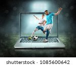 caucassian soccer players in... | Shutterstock . vector #1085600642
