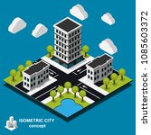 isometric cityscape icon. 3d... | Shutterstock .eps vector #1085603372