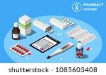 isometric pharmacy concept... | Shutterstock .eps vector #1085603408