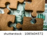 puzzle from hundred dollar... | Shutterstock . vector #1085604572