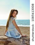 portrait of cute teenage girl... | Shutterstock . vector #1085613008