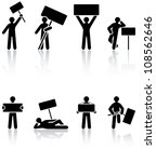 set of black human icons on... | Shutterstock . vector #108562646