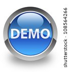 demo icon on glossy blue round... | Shutterstock . vector #108564266