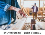 carpenters at work ... | Shutterstock . vector #1085648882