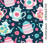 seamless pattern with teapots.... | Shutterstock .eps vector #1085665745