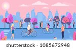 people walk with bicycles.... | Shutterstock .eps vector #1085672948