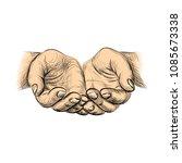 hands palms together  sketch... | Shutterstock .eps vector #1085673338