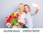 Cheerful Joyful Blogger Having...