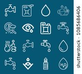 set of 16 drop outline icons...   Shutterstock .eps vector #1085686406