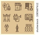 set of 9 power outline icons...