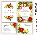 vector set of invitation cards... | Shutterstock .eps vector #1085706962