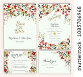 vector set of invitation cards... | Shutterstock .eps vector #1085706968
