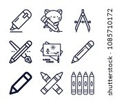 Set Of 9 Draw Outline Icons...