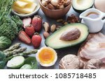 keto  ketogenic diet  low carb  ... | Shutterstock . vector #1085718485