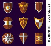 set of medieval shield icon and ... | Shutterstock .eps vector #1085722715