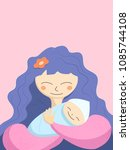 mother and newborn baby... | Shutterstock .eps vector #1085744108