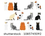 cute cats border set | Shutterstock .eps vector #1085745092