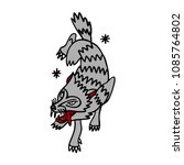 wolf illustration traditional... | Shutterstock .eps vector #1085764802