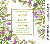 floral wedding invitation with... | Shutterstock .eps vector #1085768345