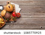 tasty grilled home made burgers ... | Shutterstock . vector #1085770925
