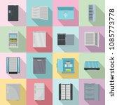 freezer fridge frozen ice icons ...   Shutterstock .eps vector #1085773778