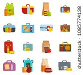 lunchbox food icons set. flat... | Shutterstock .eps vector #1085774138
