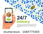 delivery service vector... | Shutterstock .eps vector #1085775305