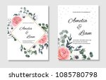 floral wedding invitation card... | Shutterstock .eps vector #1085780798