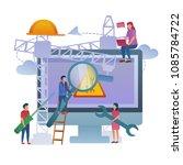 web maintenance on construction ...   Shutterstock .eps vector #1085784722