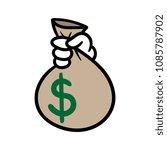 cartoon hand holding bag of...   Shutterstock .eps vector #1085787902