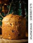 christmas italian panetton on a ... | Shutterstock . vector #1085807375