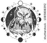 vector bird tattoo or t shirt... | Shutterstock .eps vector #1085808392