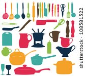 kitchen tools silhouette vector ... | Shutterstock .eps vector #108581522