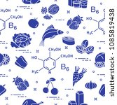 seamless pattern with foods...   Shutterstock .eps vector #1085819438