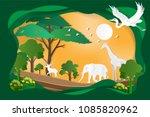 world wildlife day of origami... | Shutterstock .eps vector #1085820962