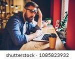 tired bearded student asleep... | Shutterstock . vector #1085823932