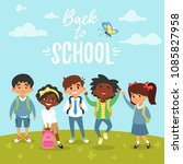 vector cartoon style back to... | Shutterstock .eps vector #1085827958