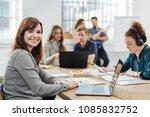 attractive happy businesswoman... | Shutterstock . vector #1085832752