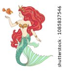 hand drawn mermaid holding a... | Shutterstock .eps vector #1085837546
