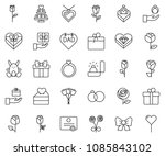thin line icon set   rabbit... | Shutterstock .eps vector #1085843102