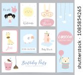 pink blue pastel greeting card...   Shutterstock .eps vector #1085854265
