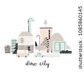 cartoon city with dinosaurs... | Shutterstock .eps vector #1085860145