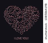 heart with love symbols in line ... | Shutterstock .eps vector #1085864198
