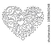 heart with love symbols in line ... | Shutterstock .eps vector #1085865248