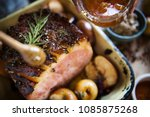 roasted ham food photography... | Shutterstock . vector #1085875268