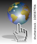 a computer mouse hand pointer cursor holding earth globe / World on cursor - stock photo